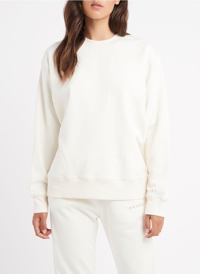 KOOKAI Weites Rundhals-Sweatshirt aus Baumwoll-Mix in Weiß