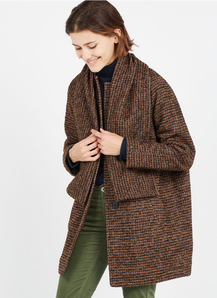 LA FEE MARABOUTEE Jacquard-Mantel mit Rundhalsausschnitt und abnehmbarem Schal in Braun