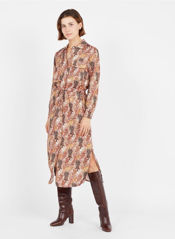 LA FEE MARABOUTEE Langes Hemdblusenkleid mit Print in Rot