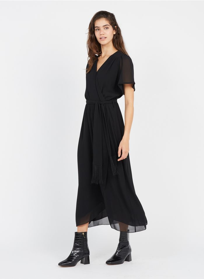 LA FEE MARABOUTEE Langes Kleid mit V-Ausschnitt und Gürtel in Schwarz