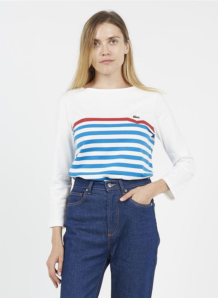 LACOSTE Gestreiftes T-Shirt mit U-Boot-Ausschnitt und Siebdruck in Weiß