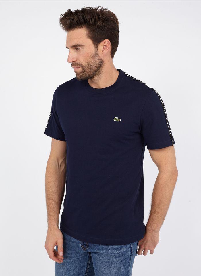 LACOSTE Rundhals-T-Shirt aus Baumwolle, Regular Fit in Blau