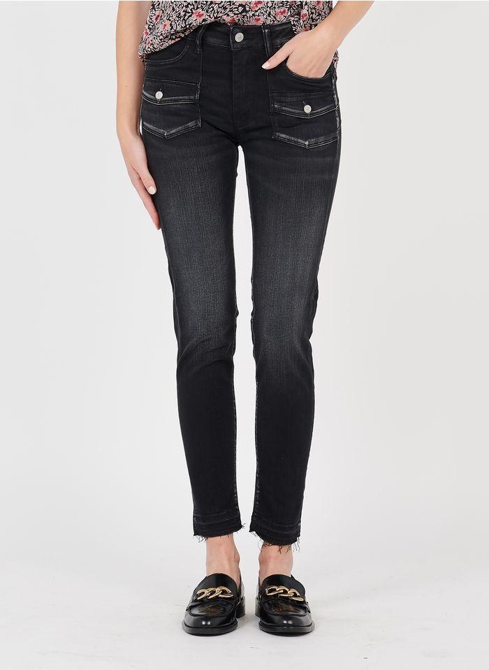 LE TEMPS DES CERISES High Waist Slimfit-Jeans in Schwarz