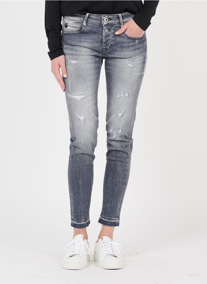 LE TEMPS DES CERISES Skinny Jeans in Destroyed-Optik in Grau