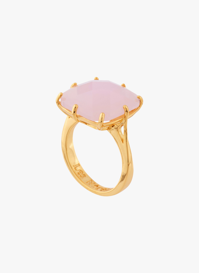 LES NEREIDES Ring aus vergoldetem Messing mit Stein in Rosa