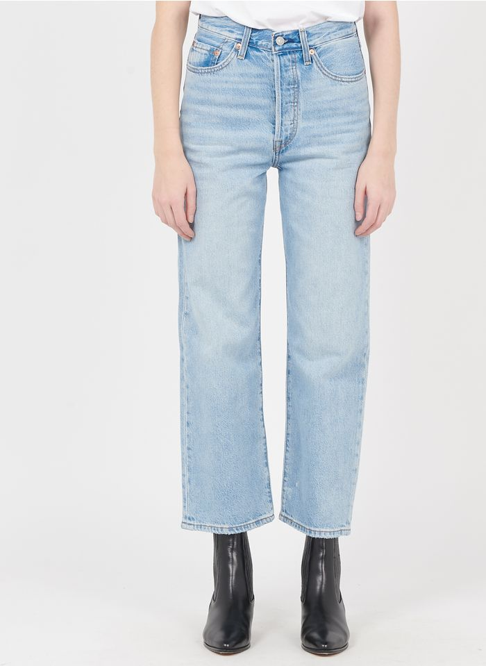 LEVI'S Cropped Straight Jeans mit hohem Bund in Bleached Jeans