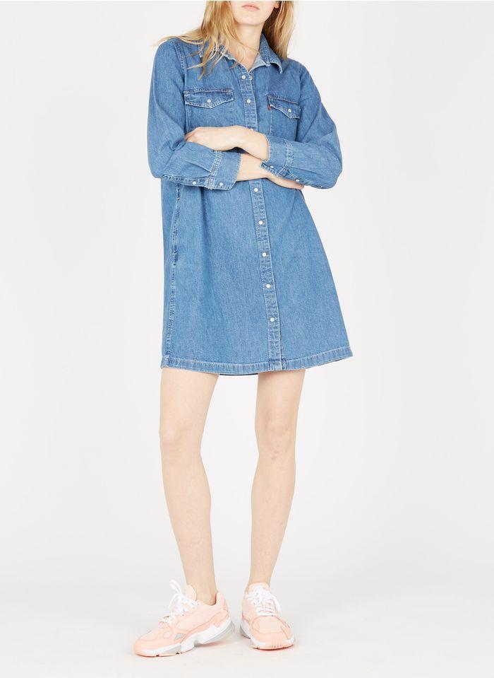 LEVI'S Kurzes Hemdblusenkleid aus Denim in Jeans ohne Waschung