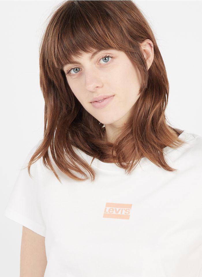 LEVI'S Rundhals-T-Shirt aus Baumwolle mit Siebdruck in Rot