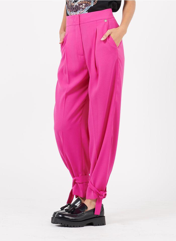 LIU JO Fließende Bundfaltenhose mit hohem Bund in Rosa