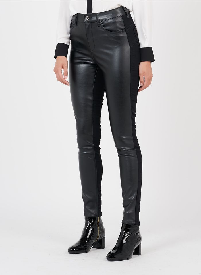 LIU JO Skinny-Hose im Material-Mix in Schwarz