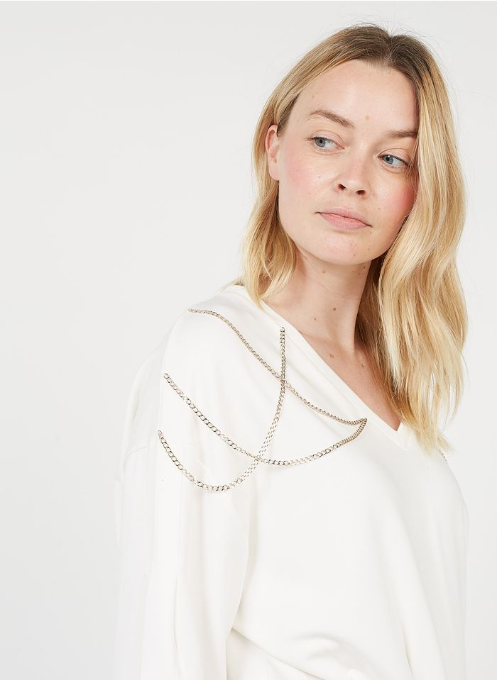 LIU JO Sweatshirt aus Baumwoll-Mix mit V-Ausschnitt und dekorativen Ketten in Weiß