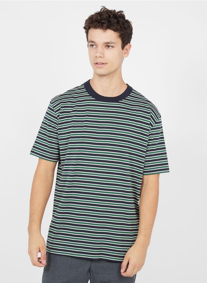 LOREAK MENDIAN Rundhals-T-Shirt aus Bio-Baumwolle mit Streifen, Regular Fit in Grün