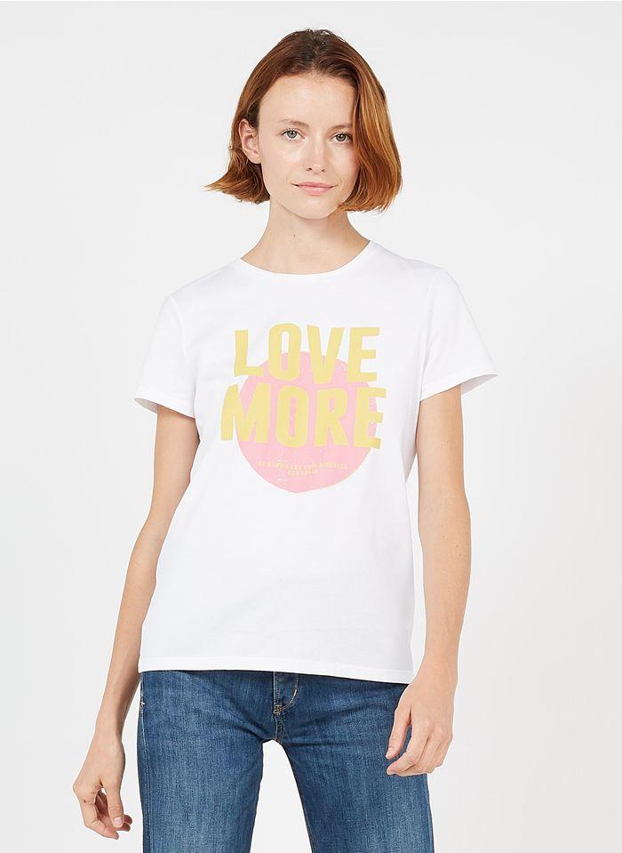 MAISON 123 Baumwoll-T-Shirt mit Siebdruck in Weiß