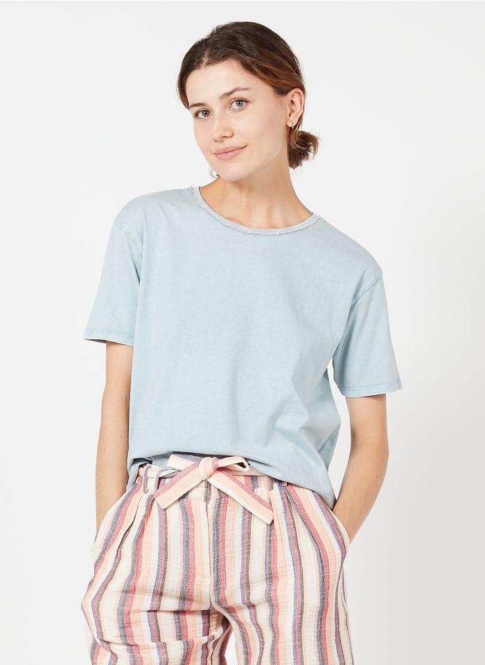 MAISON 123 Baumwoll-T-Shirt mit Strass in Bleached Jeans