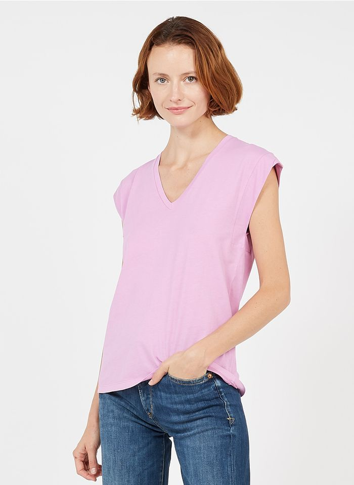 MAISON 123 Baumwoll-T-Shirt mit V-Ausschnitt in Rosa