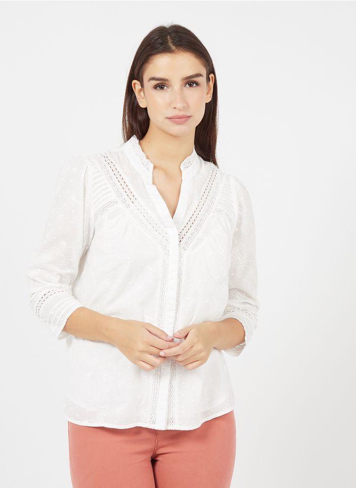 MAISON 123 Bestickte Henley-Bluse aus Baumwolle in Weiß