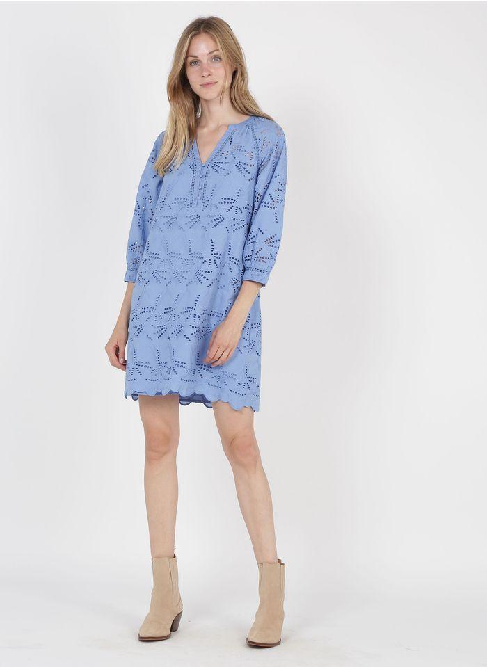 MAISON 123 Besticktes Baumwoll-Kurzkleid mit Henley-Ausschnitt in Blau