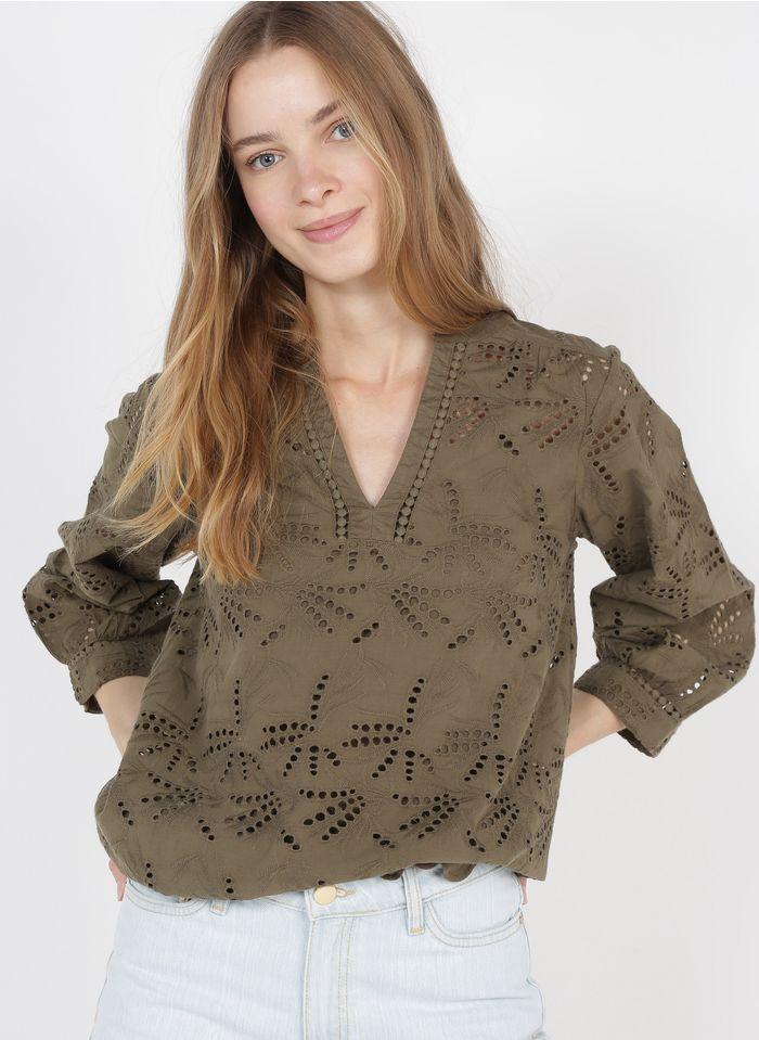 MAISON 123 Besticktes Henley-Top aus Bio-Baumwolle in Khaki