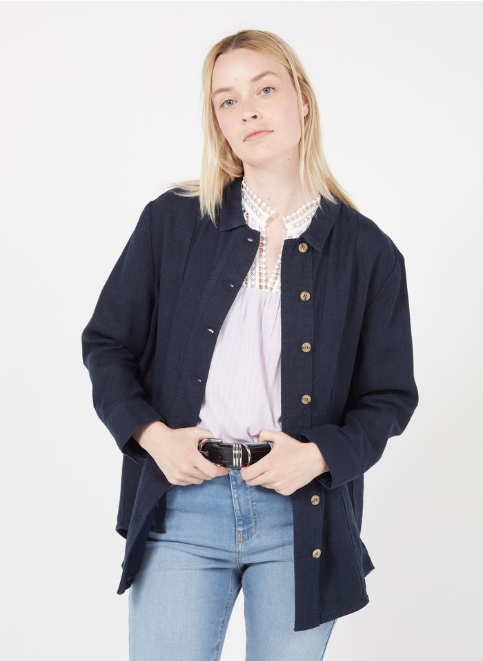 MAISON 123 Hemdjacke aus Leinen mit klassischem Kragen in Blau