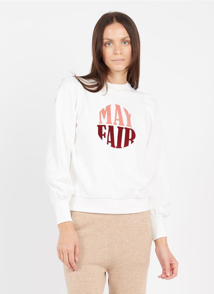 MAISON 123 Rundhals-Sweatshirt aus Baumwoll-Mix mit Flock-Siebdruck in Weiß
