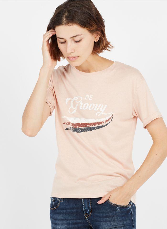 MAISON 123 Rundhals-T-Shirt aus Baumwoll-Mix mit Siebdruck in Rosa