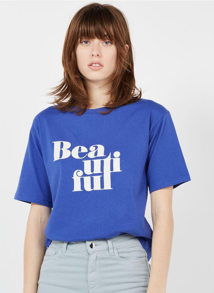 MAISON 123 Rundhals-T-Shirt aus Bio-Baumwolle mit Siebdruck in Blau