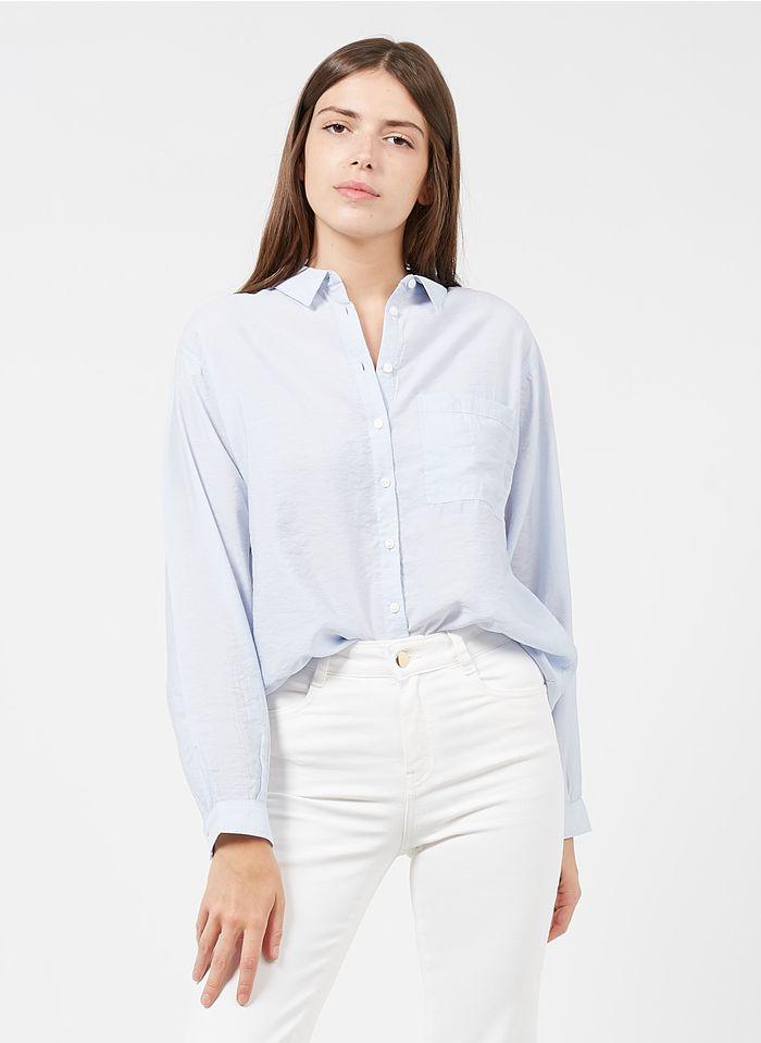 MAISON 123 Weite Bluse mit klassischem Kragen in Blau