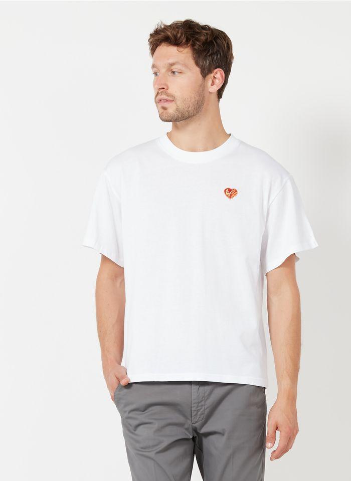 MAISON LABICHE Rundhals-T-Shirt aus Baumwolle mit gesticktem Keep-smiling-Aufnäher in Weiß