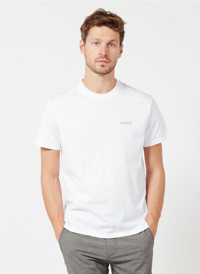 MAISON LABICHE Rundhals-T-Shirt aus Bio-Baumwolle mit Stickerei Amour, Regular Fit in Weiß