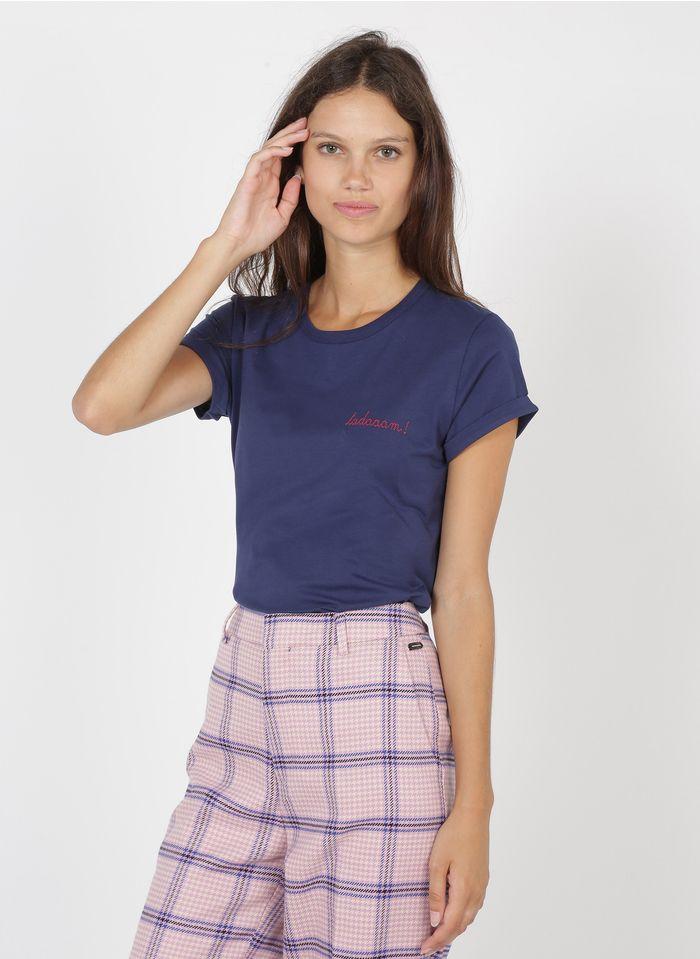 MAISON LABICHE Rundhals-T-Shirt aus Bio-Baumwolle mit tadaaam-Stickerei in Blau
