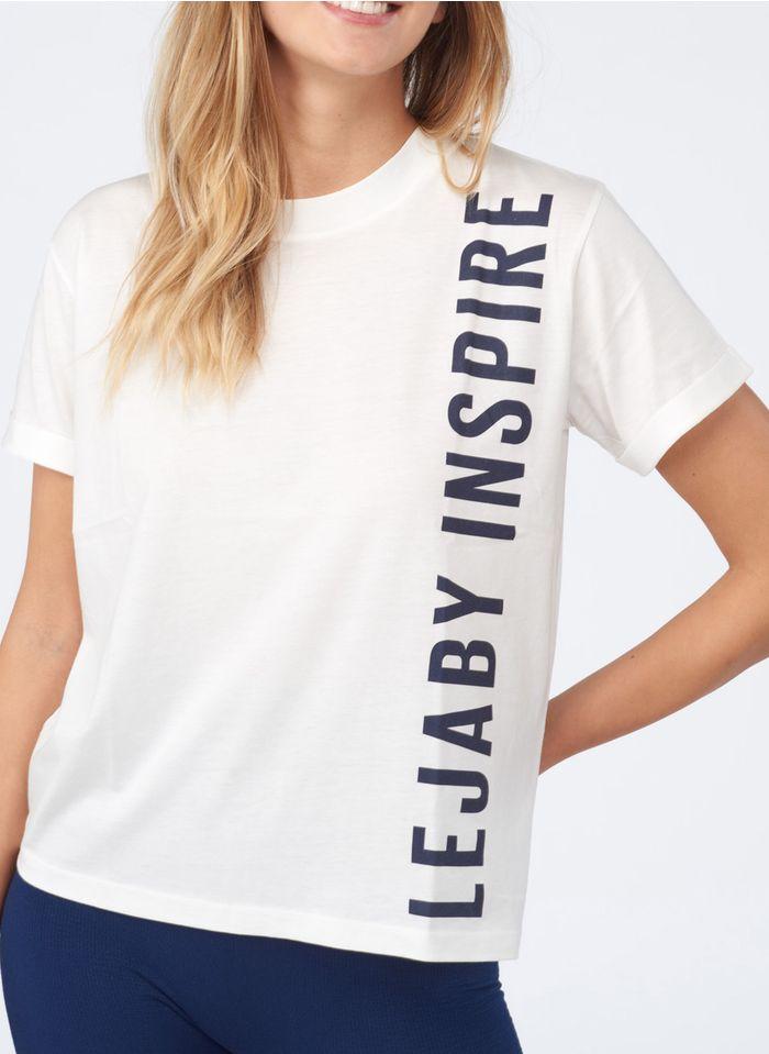 MAISON LEJABY Rundhals-T-Shirt aus Baumwoll-Mix mit Siebdruck in Weiß