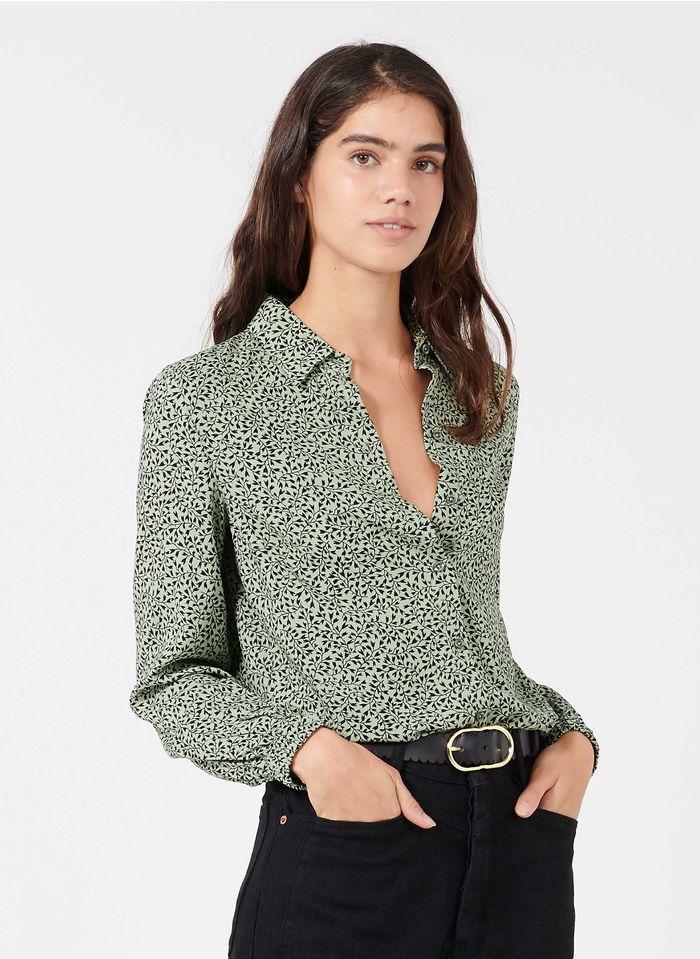 MARC O'POLO Bluse mit klassischem Kragen mit Print in Grün