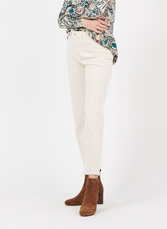MARC O'POLO Cropped Straight Cut Jeans Jeans aus Bio-Baumwoll-Mix in Beige