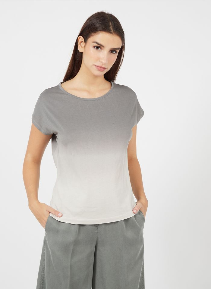 MARC O'POLO Rundhals-T-Shirt aus Baumwolle in Stone-Washed-Optik in Grau