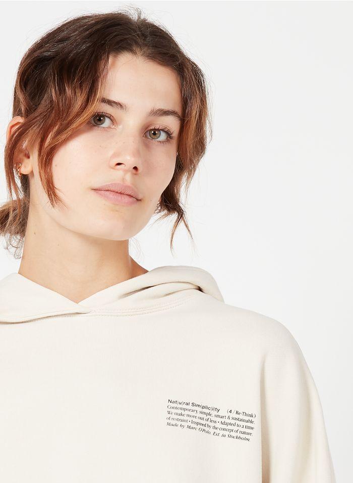 MARC O'POLO Weites Kapuzensweatshirt aus Baumwolle mit Siebdruck in Weiß