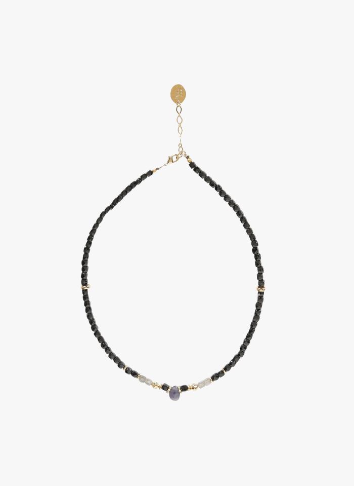 MILA CREATION Halskette aus Schmucksteinen in Grau