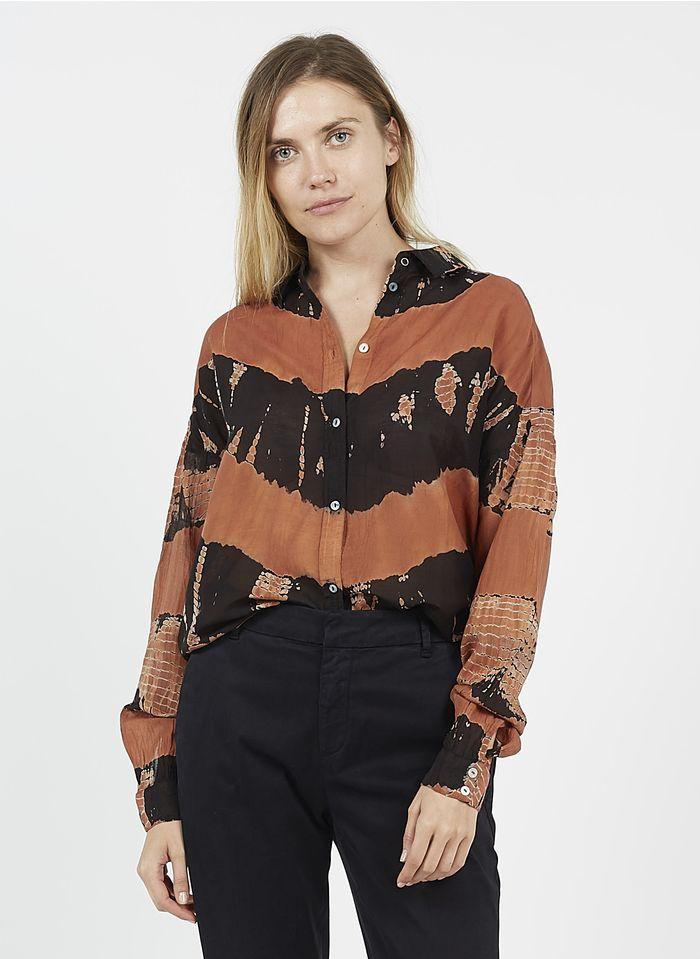 MKT Bedruckte Bluse aus Baumwolle und Seide mit klassischem Kragen in Orange