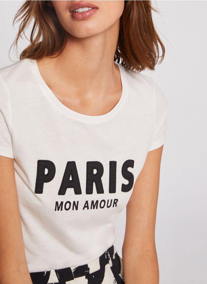MORGAN Besticktes Rundhals-T-Shirt aus Baumwoll-Mix in Weiß
