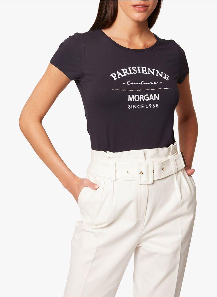 MORGAN Rundhals-T-Shirt mit Siebdruck in Blau