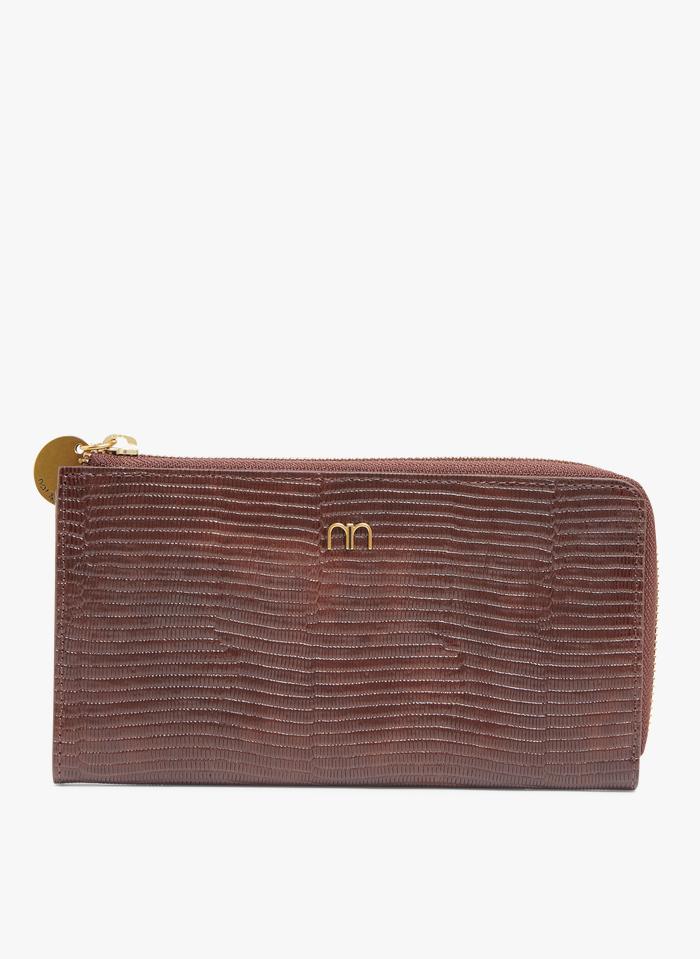 NAT & NIN Brieftasche aus Leder in Braun