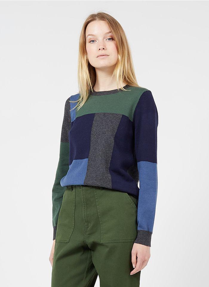 NICE THINGS Rundhalspullover mit Print in Colorblock-Optik aus Baumwoll-Mix in Grau