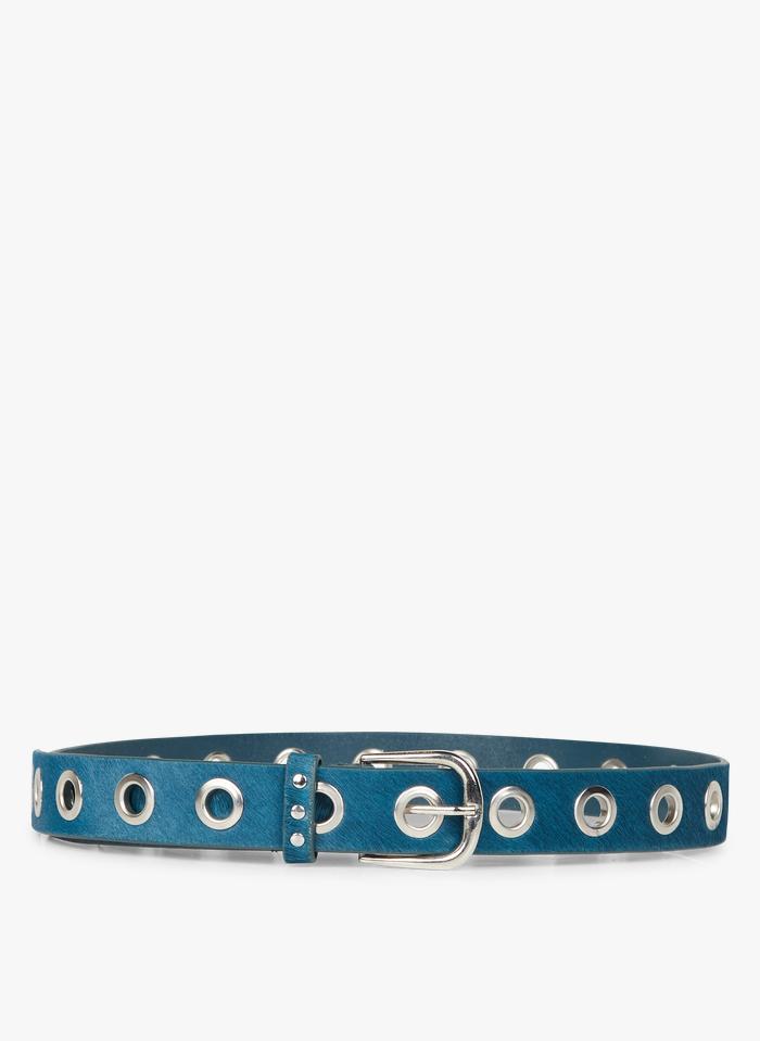 ONE STEP Ledergürtel mit Ösen in Blau
