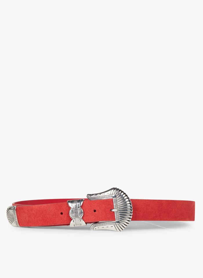 ONE STEP Veloursledergürtel mit Schnalle in Rot