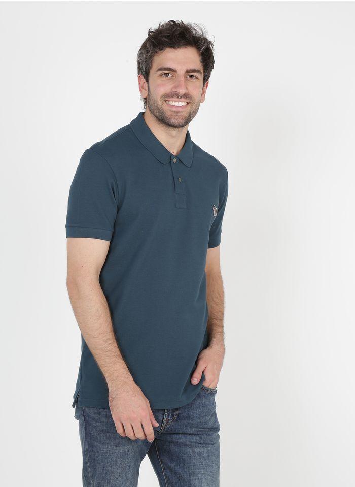 PAUL SMITH Besticktes Poloshirt aus Bio-Baumwolle mit klassischem Kragen, Slim Fit in Blau