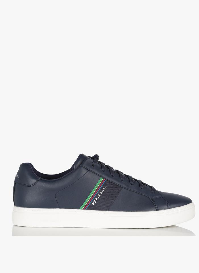 PAUL SMITH Niedrige Ledersneaker mit Streifen in Blau
