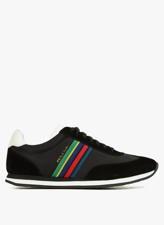PAUL SMITH Niedrige Sneaker aus Material-Mix mit seitlichen Streifen in Schwarz