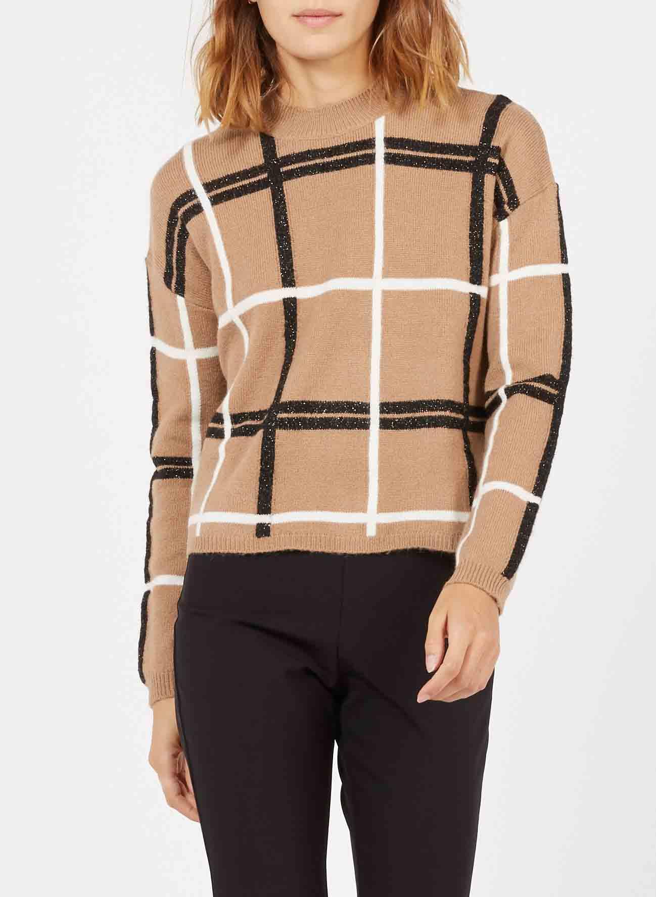 PENNYBLACK Jacquard-Pullover mit Stehkragen in Beige