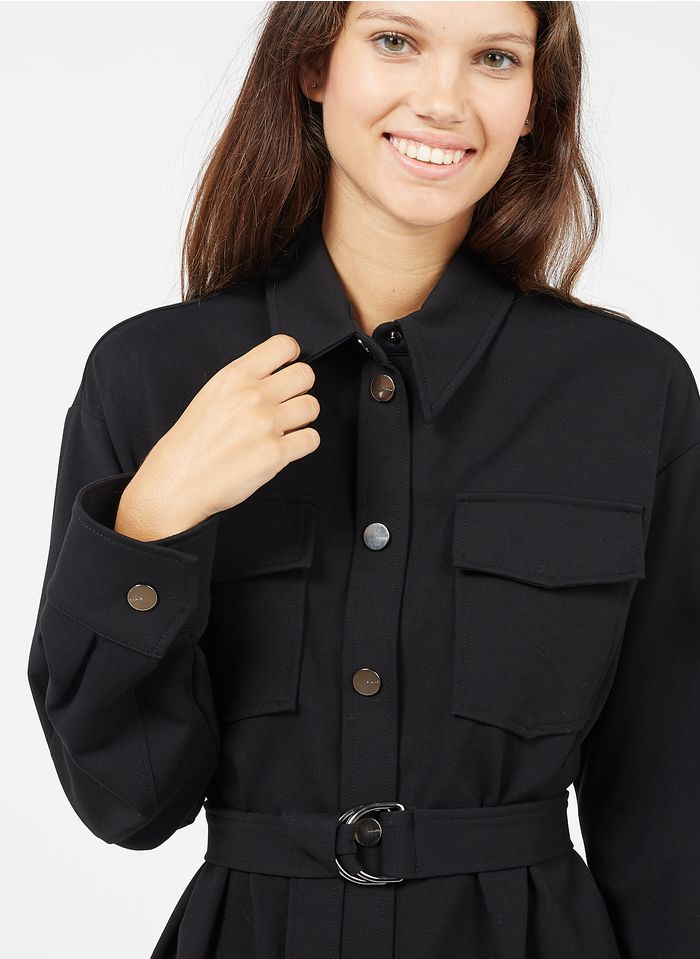 PINKO Jacke mit klassischem Kragen und Gürtel in Schwarz