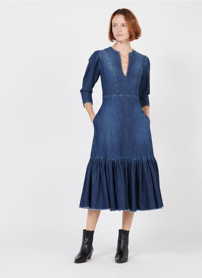 PINKO Midi-Jeanskleid mit Henley-Ausschnitt in Blau