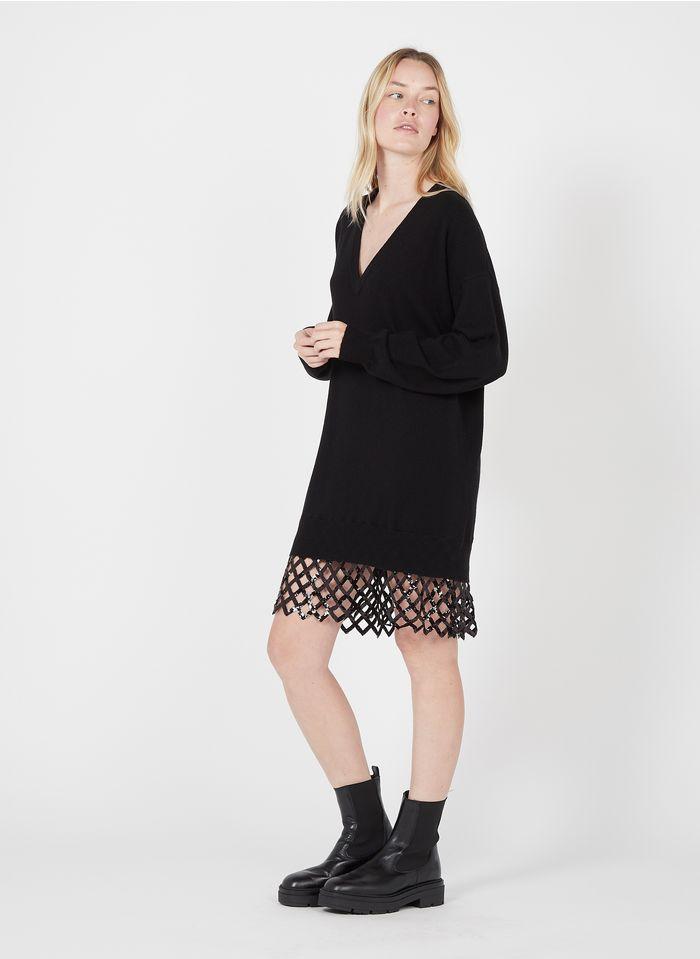 PINKO Pulloverkleid aus Wolle und Kaschmir mit V-Ausschnitt und Pailletten in Schwarz
